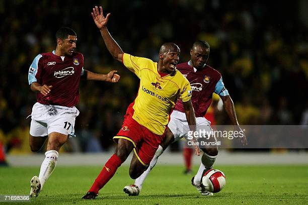 Nigel Reo-Coker of West Ham United wins the ball off Damien Francis of Watford during the Barclays Premiership match between Watford and West Ham...