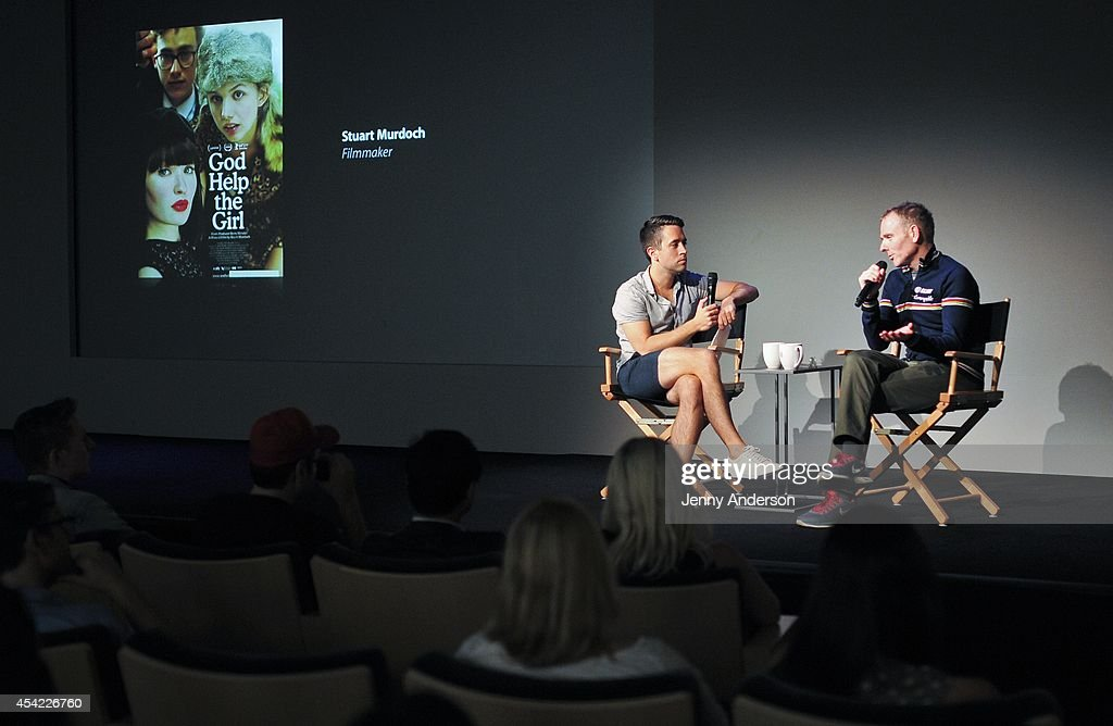 Nigel Smith from Indiewire and Stuart Murdoch attends Meet the Filmmaker: Stuart Murdoch, 'God Help the Girl' at Apple Store Soho on August 26, 2014 in New York City.