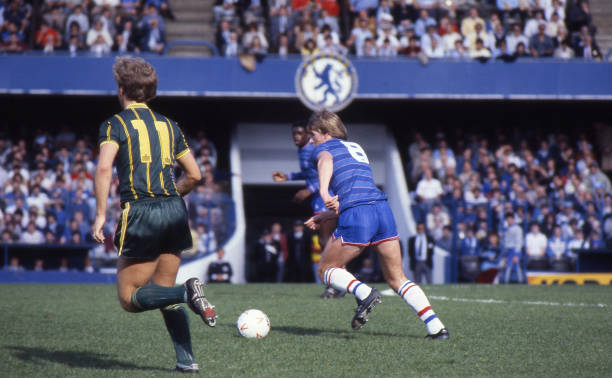 Nigel Spackman of Chelsea in action during the Canon League Division One match between Chelsea and Leicester City held on September 29, 1984 at...