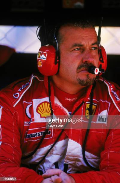 Nigel Stepney of Ferrari looks on during the FIA Formula One Italian Grand Prix on September 14 2003 at the Autodromo Nazionale Monza in Monza Italy