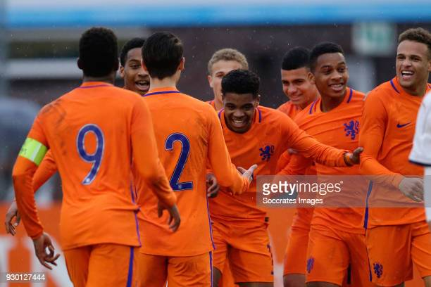 Nigel Thomas of Holland U17 celebrates 01 with Liam van Gelderen of Holland U17Jurrien Maduro of Holland U17 Daishawn Redan of Holland U17 during the...