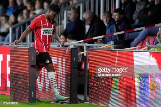 Nigel Thomas of PSV U23 leaves the pitch after a red card during the Dutch Keuken Kampioen Divisie match between PSV U23 v FC Den Bosch at the De...