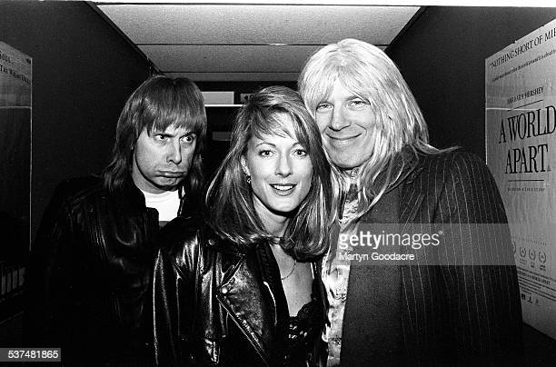 Nigel Tufnel and David St Hubbins of Spinal Tap with Jeanine London United Kingdom 1992