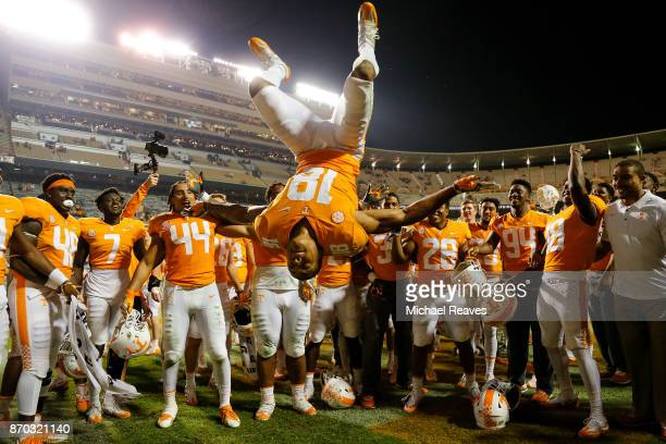 Nigel Warrior of the Tennessee Volunteers does a flip while celebrating after defeating the Southern Miss Golden Eagles at Neyland Stadium on...