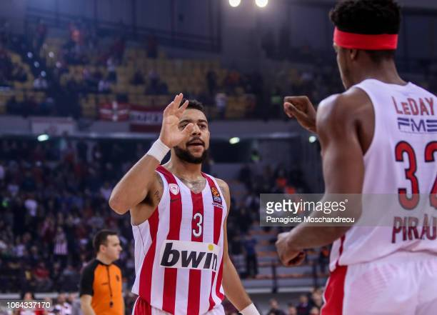 Nigel WilliamsGoss #3 of Olympiacos Piraeus react during the 2018/2019 Turkish Airlines EuroLeague Regular Season Round 9 game between Olympiacos...