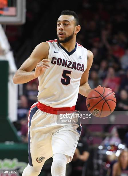 Nigel WilliamsGoss of the Gonzaga Bulldogs brings the ball up the court against the Pacific Tigers during a quarterfinal game of the West Coast...