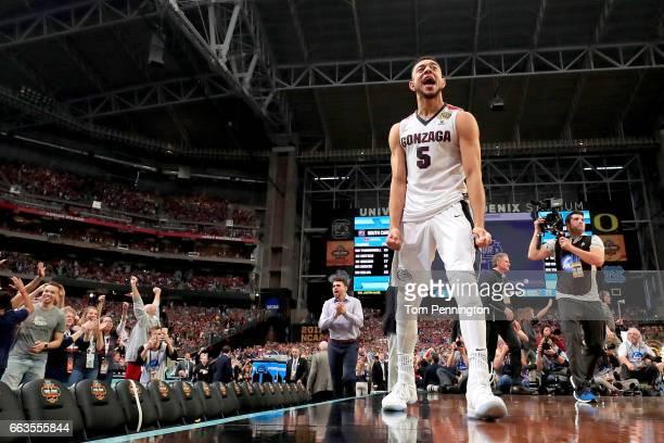 Nigel WilliamsGoss of the Gonzaga Bulldogs celebrates after defeating the South Carolina Gamecocks during the 2017 NCAA Men's Final Four Semifinal at...