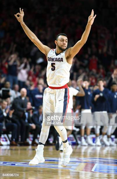Nigel WilliamsGoss of the Gonzaga Bulldogs celebrates after teammate Jordan Mathews hit a 3pointer against the Pacific Tigers during a quarterfinal...