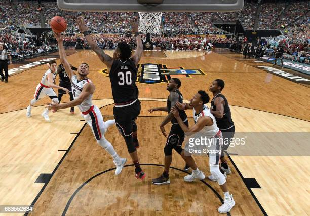 Nigel WilliamsGoss of the Gonzaga Bulldogs draws the foul from Chris Silva of the South Carolina Gamecocks during the 2017 NCAA Men's Final Four...