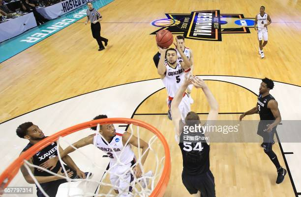 Nigel WilliamsGoss of the Gonzaga Bulldogs goes up against the Xavier Musketeers in the first half during the 2017 NCAA Men's Basketball Tournament...