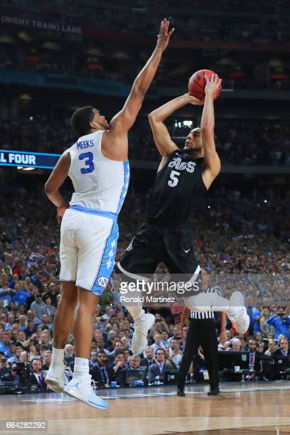 Nigel WilliamsGoss of the Gonzaga Bulldogs has his shot blocked by Kennedy Meeks of the North Carolina Tar Heels late in the game during the 2017...