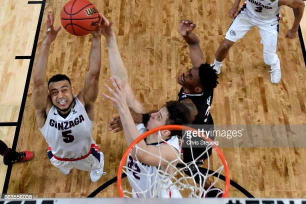 Nigel WilliamsGoss of the Gonzaga Bulldogs reaches for the rebound during the 2017 NCAA Men's Final Four Semifinal against the South Carolina...