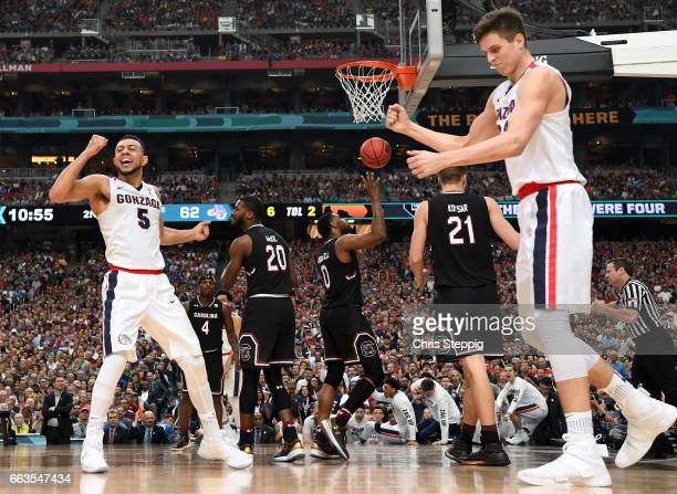 Nigel WilliamsGoss of the Gonzaga Bulldogs reacts after a foul during the 2017 NCAA Men's Final Four Semifinal against the South Carolina Gamecocks...