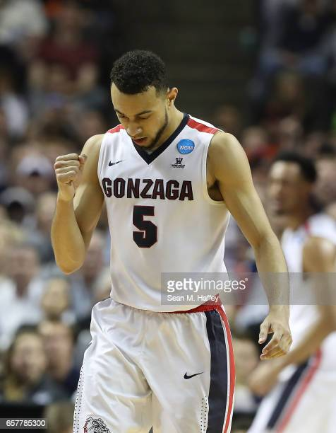 Nigel WilliamsGoss of the Gonzaga Bulldogs reacts against the Xavier Musketeers during the 2017 NCAA Men's Basketball Tournament West Regional at SAP...