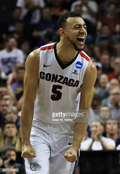 Nigel WilliamsGoss of the Gonzaga Bulldogs reacts in the first half against the Xavier Musketeers during the 2017 NCAA Men's Basketball Tournament...