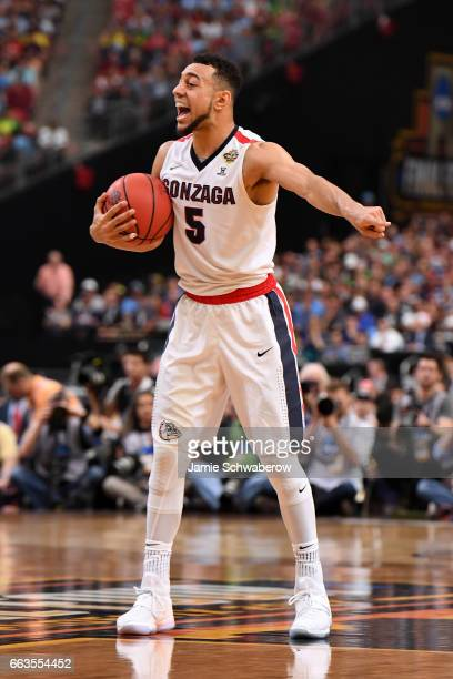 Nigel WilliamsGoss of the Gonzaga Bulldogs reacts on the court during the 2017 NCAA Men's Final Four Semifinal against South Carolina Gamecocks at...