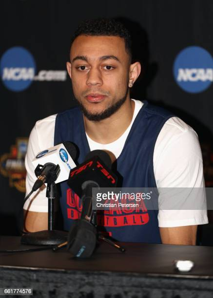 Nigel WilliamsGoss of the Gonzaga Bulldogs speaks in a press conference ahead of the 2017 NCAA Men's Basketball Final Four at University of Phoenix...