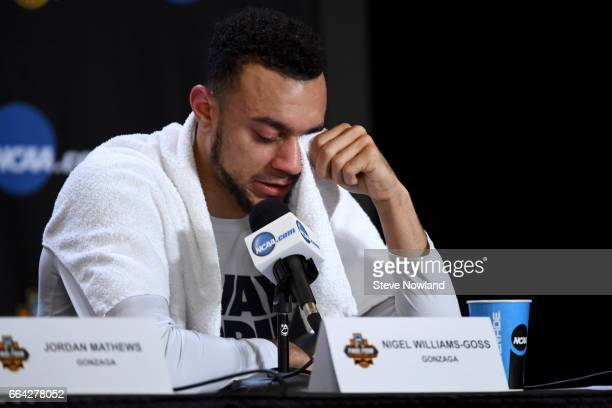 Nigel WilliamsGoss of the Gonzaga Bulldogs wipes his tears during a press conference following the 2017 NCAA Men's Final Four National Championship...