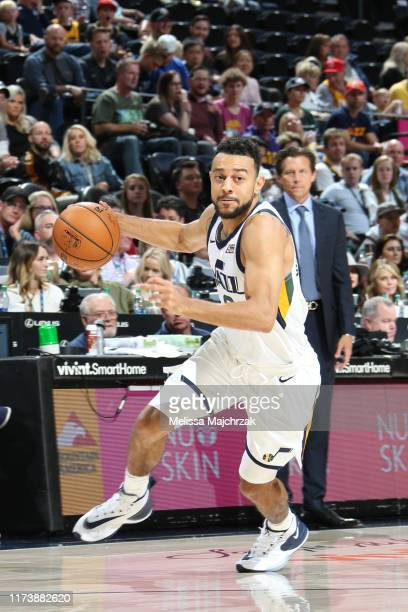 Nigel WilliamsGoss of the Utah Jazz handles the ball against the Adelaide 36ers during a preseason game on October 5 2019 at vivintSmartHome Arena in...