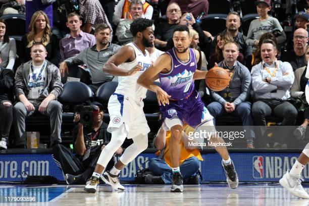 Nigel WilliamsGoss of the Utah Jazz handles the ball against the LA Clippers on October 30 2019 at vivintSmartHome Arena in Salt Lake City Utah NOTE...