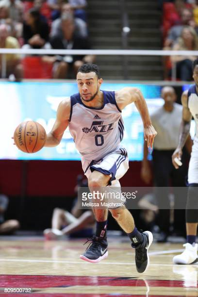 Nigel WilliamsGoss of the Utah Jazz handles the ball against the Philadelphia 76ers on July 5 2017 during the 2017 NBA Utah Summer League game at the...