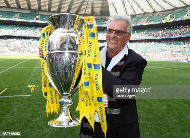 Nigel Wray owner of Saracens celebrates their victory during the Aviva Premiership Final between Exeter Chiefs and Saracens at Twickenham Stadium on...