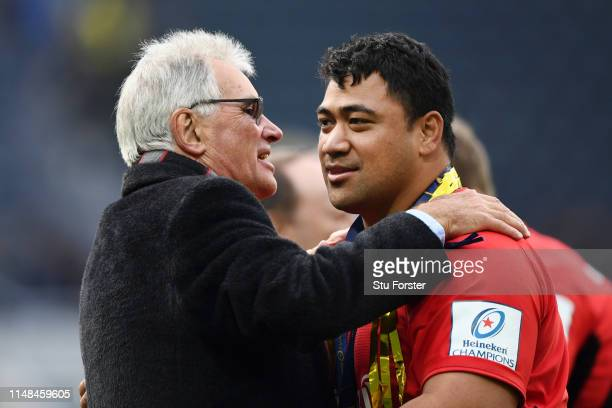 Nigel Wray Owner of Saracens embraces Titi Lamositele of Saracens after the Champions Cup Final match between Saracens and Leinster at St James Park...