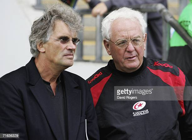 Nigel Wray the owner of Saracens and his Director of Rugby Alan Gaffney watch their team during the Coral Middlesex Sevens held at Twickenham Stadium...