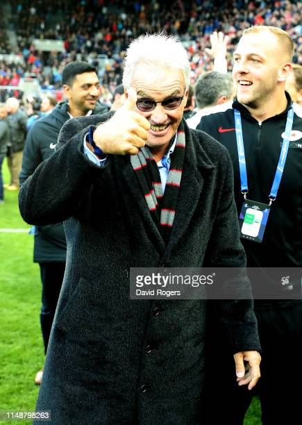 Nigel Wray the owner of Saracens celebrates their victory during the Champions Cup Final match between Saracens and Leinster at St James Park on May...