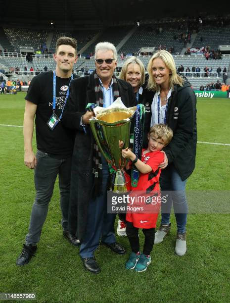 Nigel Wray the Saracens owner celebrates with his family after their victory during the Champions Cup Final match between Saracens and Leinster at St...
