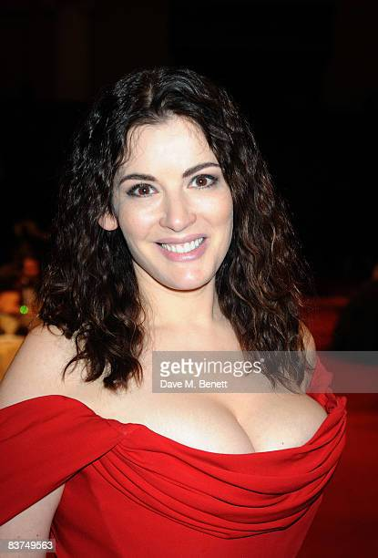 Nigella Lawson attends a cocktail reception as Vivienne Westwood presented her Gold Label Collection in collaboration with the London Musici...