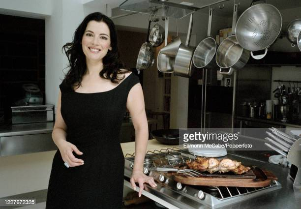 Nigella Lawson, British celebrity chef and food writer, 30th July 2002. Lawson is the daughter of Nigel Lawson, former Chancellor of the Exchequer,...