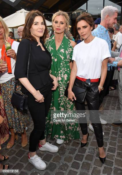 Nigella Lawson Laura Bailey and Victoria Beckham attend British Vogue editor Alexandra Shulman's leaving party at Dock Kitchen on June 22 2017 in...