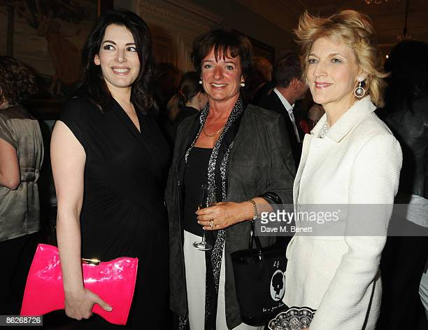 Nigella Lawson Rosa Monkton and Fiona Shackleton attends the book launch party for Nicholas Coleridge's book 'Deadly Sins' at Dartmouth House on...