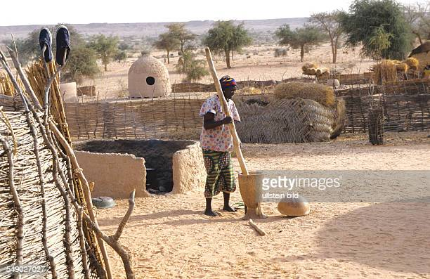 A Hausa woman pounding millet in her compound