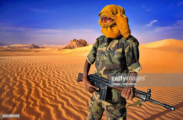 CONTENT] Niger A soldier of the Tuareg Rebel Army in the area of Temet close to Algeria border