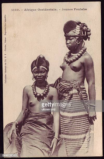 Young Fulani girls in national dress Historical photo 1910