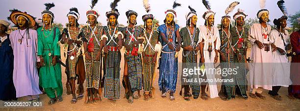 Niger, Gerewol of Peuls, Wodaabe-Bororo men with face paint