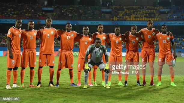 Niger pose for a team photo ahead of the FIFA U17 World Cup India 2017 group D match between Korea DPR and Niger at the Jawaharlal Nehru...