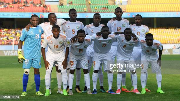 Niger pose for a team photo ahead of the FIFA U17 World Cup India 2017 group D match between Spain and Niger at the Jawaharlal Nehru International...
