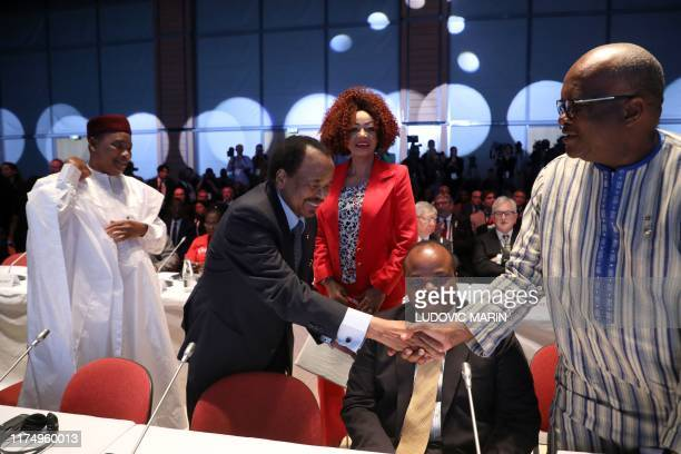Niger president Mahamadou Issoufou, Cameroun president Paul Biya and his wife Chantal Biya, king Mswati III head of state of eSwatini and Burkina...