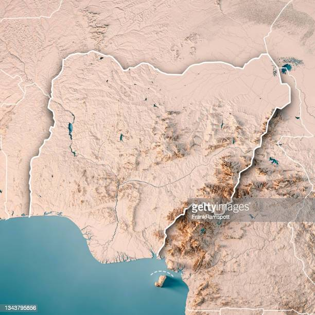 nigeria 3d render topographic map neutral border - nigeria stock pictures, royalty-free photos & images