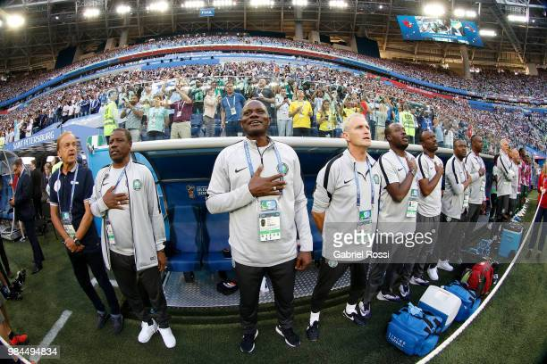 Nigeria bench sing the national anthem during the 2018 FIFA World Cup Russia group D match between Nigeria and Argentina at Saint Petersburg Stadium...