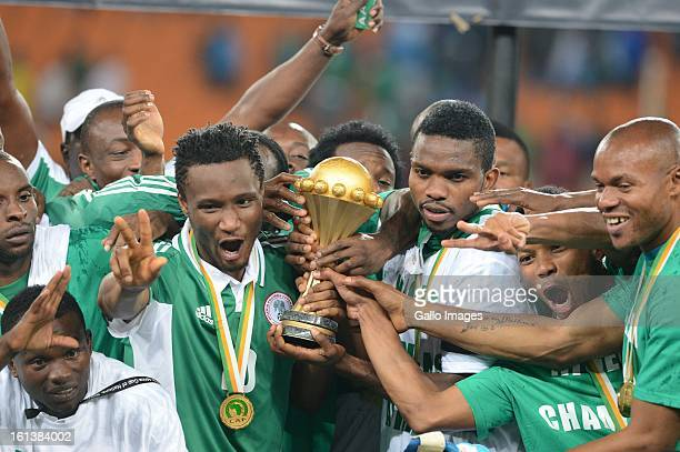Nigeria celebrate during the 2013 Orange African Cup of Nations Final match between Nigeria and Burkina Faso from the National Stadium on Februray 10...