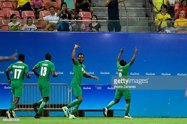 Nigeria celebrates his goal during 2016 Summer Olympics match between Japan and Nigeria at Arena Amazonia on August 4 2016 in Manaus Brazil