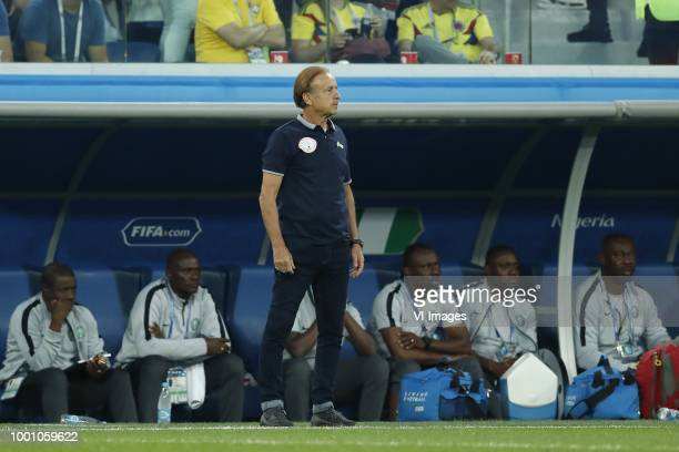 Nigeria coach Gernot Rohr during the 2018 FIFA World Cup Russia group D match between Nigeria and Argentina at the Saint Petersburg Stadium on June...