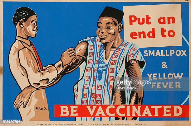 Nigeria Department of Health poster showing an African in traditional clothing being inoculated Illustrated by A Folorin