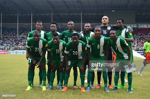Nigeria Eagles team pose for group photograph during the 2018 world cup qualifier at the at Adokie Amiesiemaka Stadium in Port Harcourt Nigeria 17...