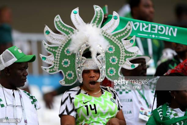 Nigeria fan enjoys the pre match atmosphere prior to the 2018 FIFA World Cup Russia group D match between Nigeria and Iceland at Volgograd Arena on...