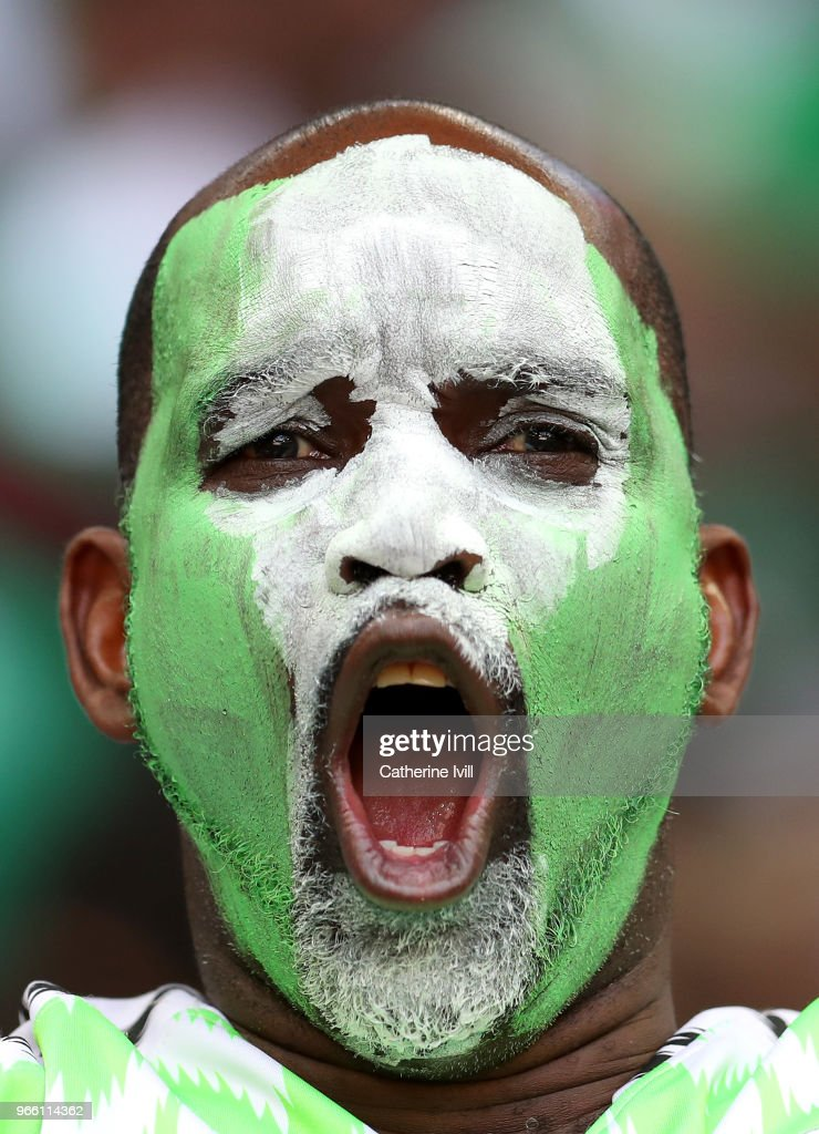 A Nigeria fan shows surport for his team during the International Friendly match between England and Nigeria at Wembley Stadium on June 2, 2018 in London, England.